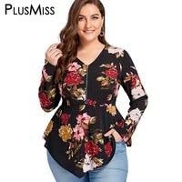 PlusMiss плюс размер 5XL молния Цветочный принт блузка рубашка Женская туника с длинными рукавами баски шифон Топы Осень Blusas 2018