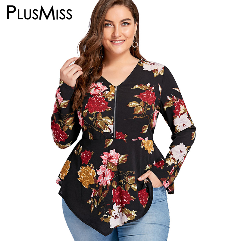 PlusMiss Plus Size 5XL Zipper Floral Flower Print   Blouse     Shirt   Women Long Sleeve Tunic Peplum Chiffon Tops Autumn Blusas 2018