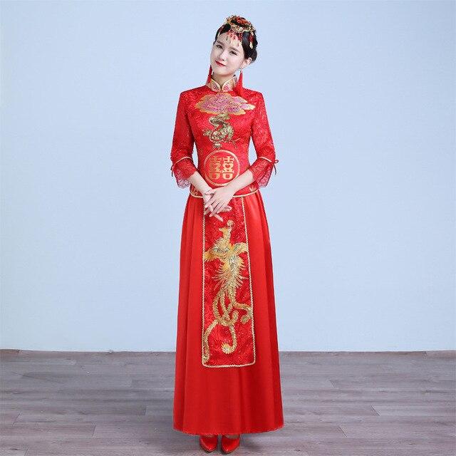 New Cheongsam Dress Long Red Lace Evening Dresses Vestidos Vintage Elegant Lace Lady Chinese Traditional Cheongsam Sexy Wedding