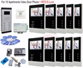 For 10 Apartments Luxury Home 4.3'' Color Video Door Phone Intercom Kit Video door phone systems+ RFID Electronic lock In Stock!