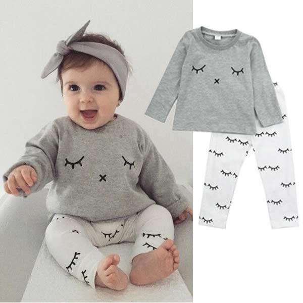 Baby Shirts Body Set Wimpern Drucken Newborn Baby Jungen Mädchen