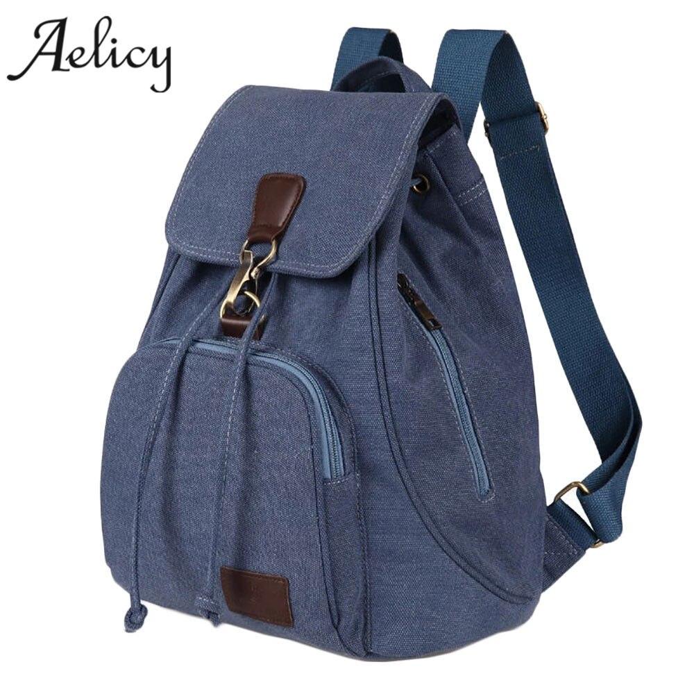 Canvas Backpack Casual Pure Color Woman Travel Bag Vintage Large Capacity Lady's School Bag Laptop Bag School Bags