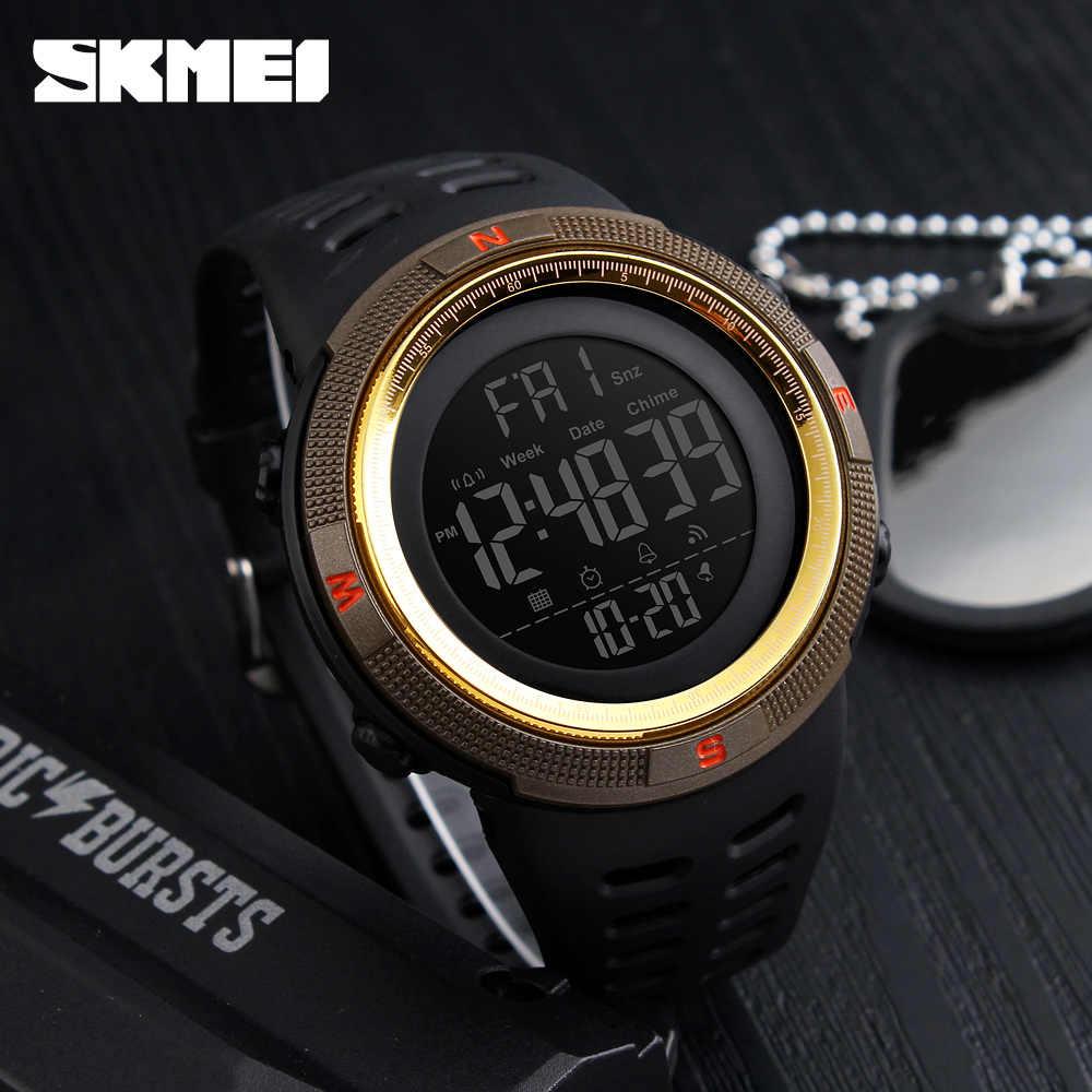 นาฬิกาข้อมือ SKMEI แบรนด์ผู้ชายกีฬานาฬิกาแฟชั่น Chronos นับถอยหลังผู้ชายกันน้ำ LED นาฬิกาดิจิตอลนาฬิกาผู้ชายนาฬิกาทหาร Relogio Masculino