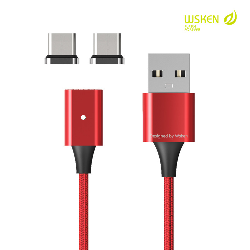 WSKEN Magnetic USB Type C Data Cable Magnet Fast Charging Mobile Phone Charger Cables For Samsung Huawei Honor Xiaomi OnePlus