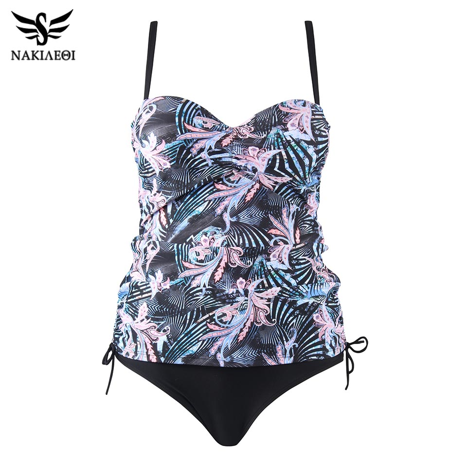 NAKIAEOI Swimwear Women Print 2018 Sexy Push Up Tankini Set Vintage High Waisted Bathing Suit Summer Beach Wear Plus Size 2XL
