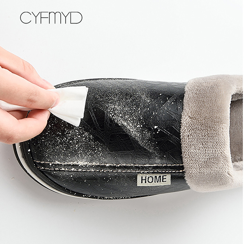 Image 3 - Men slippers leather winter warm house slippers waterproof 2019 brand anti dirty plush male shoes non slip plus size 7.5 16-in Slippers from Shoes
