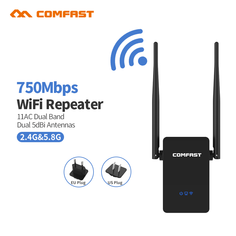 802.11AC WIFI Router Wifi repeater 11AC Dual Band 750Mbs Comfast Wireless WI FI Router Extender amplifier English firmware tp link wireless router 802 11ac ac1750 dual band wireless wifi router 2 4g 5 0g vpn wifi repeater tl wdr7400 app routers