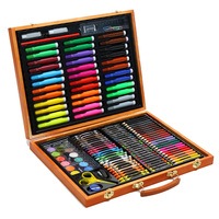 150pcs/set Stationery Supplies Gift Pencils Children Painting Wooden Box Water Color Pen Art Colouring Learning