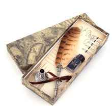 Vintage Metal Feather Fountain Pen European and American Style Office Stationery Exquisite Gift Set Fountain Pen Writing 0.5mm