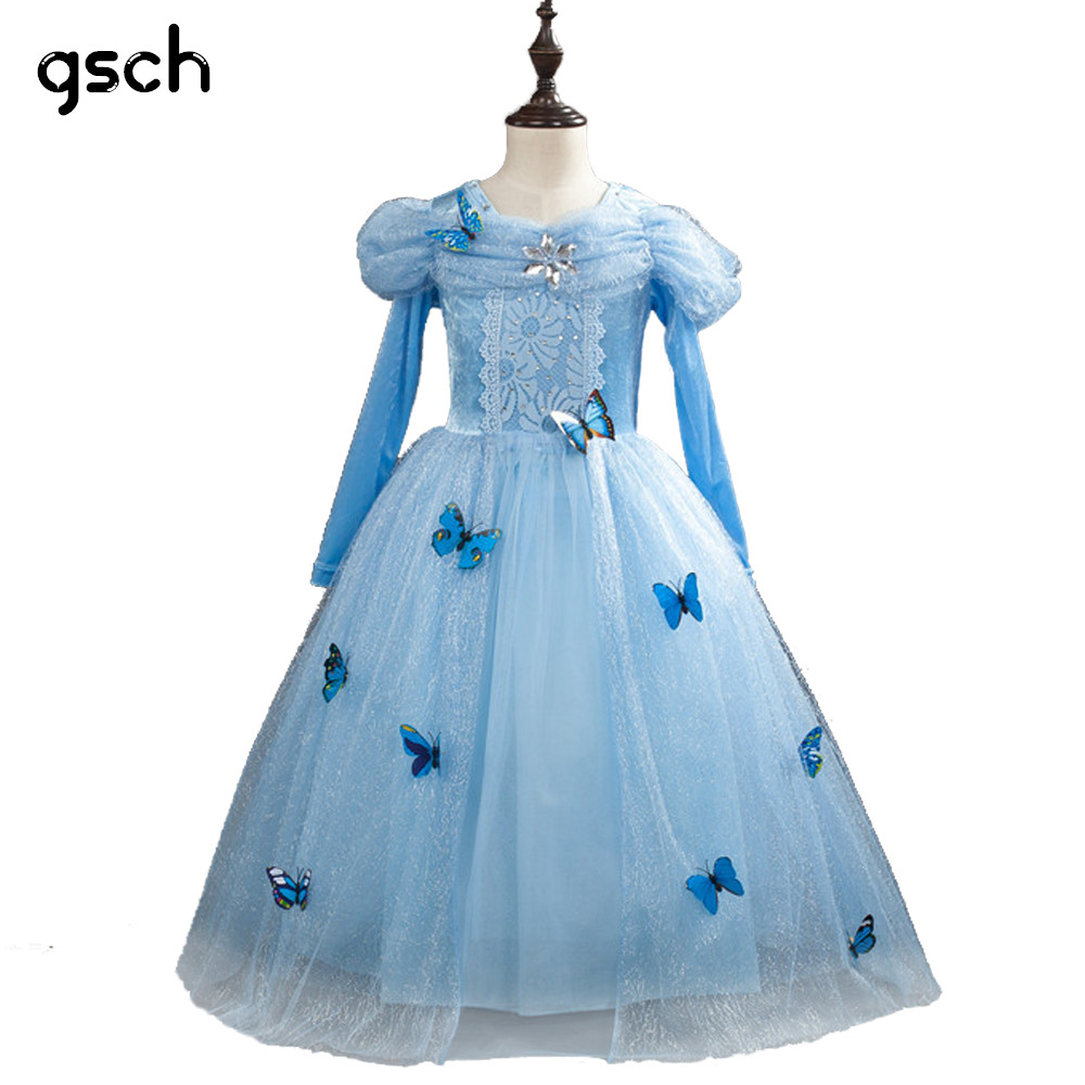 GSCH Elsa Dress Snow Queen Anna Princess Dress Cinderella Dress Butterfly Kids Party Cosplay Costume Deguisement Robe Princesse new girls anna elsa dress children s dress sequined princess cinderella fancy kids clothes for party costume snow queen cosplay