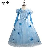 GSCH Elsa Dress Snow Queen Anna Princess Dress Cinderella Dress Butterfly Kids Party Cosplay Costume Deguisement Robe Princesse
