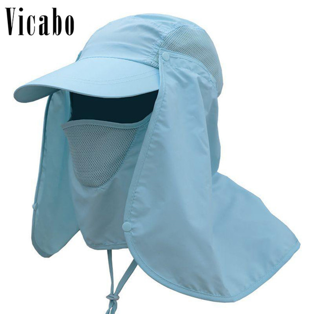 51748a8c024 2018 Vicabo Unisex Mosquitos Solid Bucket Hat Men Women Face Mask  Protection Fishing Wide Round Brim