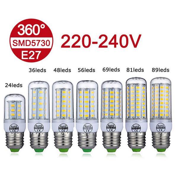 New E27 LED Lamp 220V 240V SMD5730 LED Bulb 360 Degree Lighting 24 36 48 56 69 81 89LEDs Bombillas LED Corn Light No Flickering
