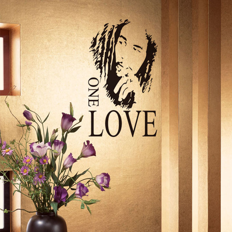2016 Fashion Hot On Sale New Removable Wall Stickers BOB MARLEY ONE ...