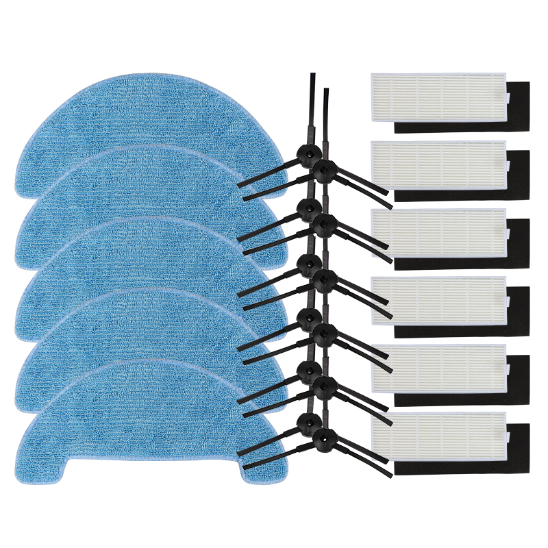 6*Filter+6*Sponge+12*Side Brush+5*Mop Cloth for ILIFE A4 Robot Vacuum Cleaner Parts chuwi ilife a4 T4 5x side brush kit 3x cleaning mop cloth replacement for ilife v7 chuwi v7 robotic vacuum cleaner chuwi ilife v7