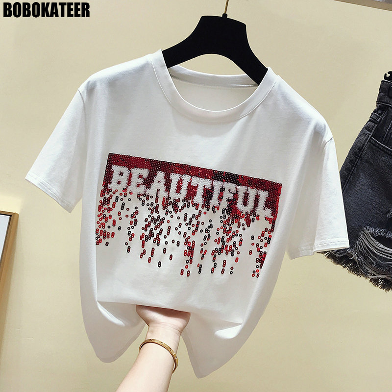 BOBOKATEER Cotton White T Shirt Women Tops Vintage Summer Top Female T-shirt Short Sleeve Sequin Black Tee Shirt Femme New 2019
