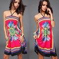 Сексуальная Vestidos Плюс Размер Летнее Платье 2016 Большой Размер XXL Пляж Платья Большой Размер Женщин Цветочные Одежда Женская Одежда XL