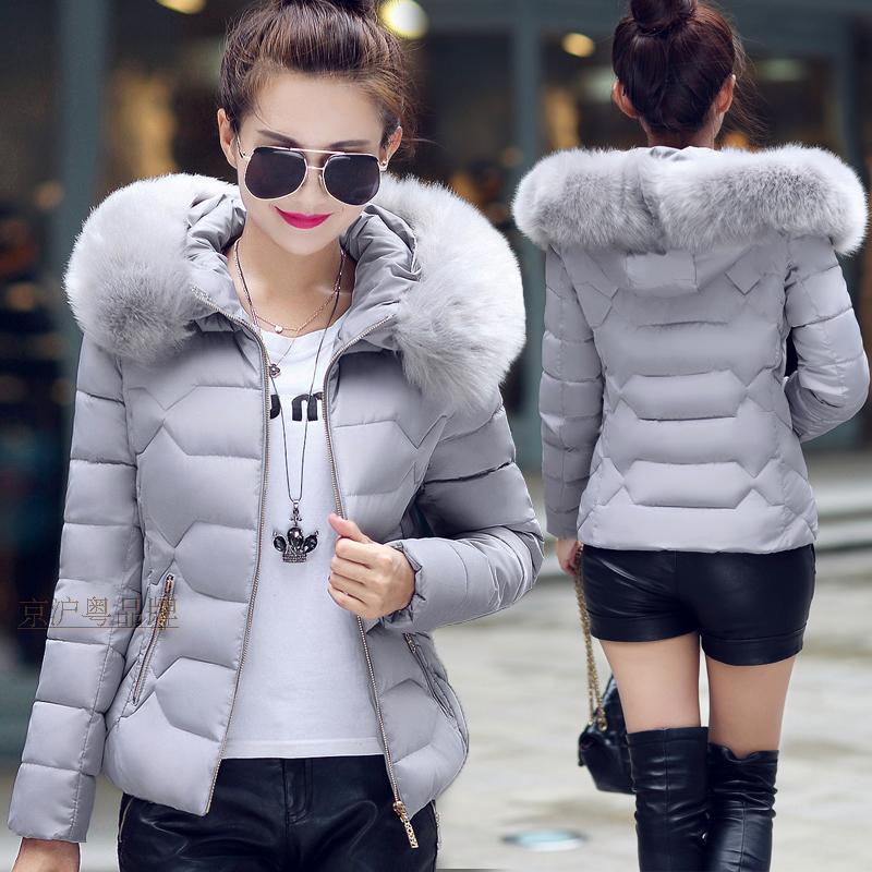 Parkas   Women Winter Slim Hooded Jacket Fur Collar Coats Cotton Padded Female Warm Black Short Overcoat Outwear KWT4583