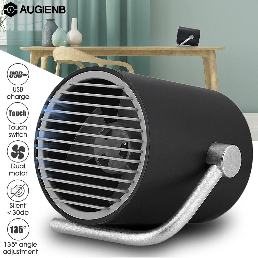 Augienb Tactile Commutateur De Refroidissement 2 Vitesses Mini Mat USB Bureau ventilateur avec Twin Turbo Ventilateurs Personnels Muet Maison Petit Air Conditionin