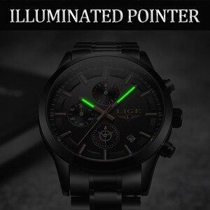Image 3 - Lige relógio masculino de aço inoxidável à prova dwaterproof água relógios relógio de quartzo relógio de pulso masculino