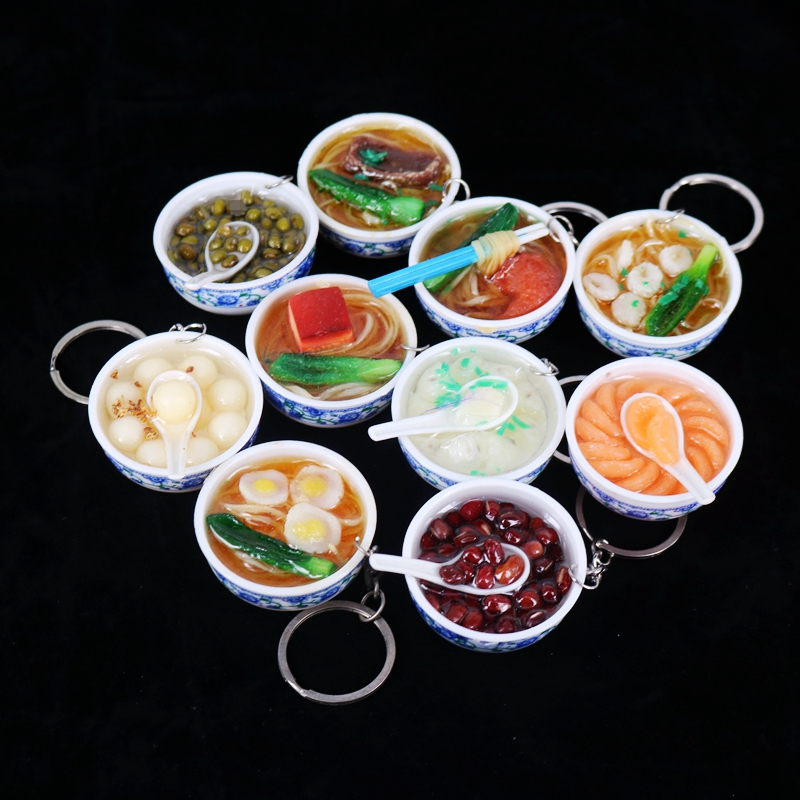 New Simulation Food Key Chains Noodle Creative Bowl Keychain Chinese Blue And White Porcelain Food Bowl Mini Bag Pendant