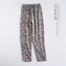 Весенние и осенние новые женские брюки, японские хлопковые трикотажные Пижамные штаны, двойные марлевые свободные брюки, большие размеры, домашние штаны