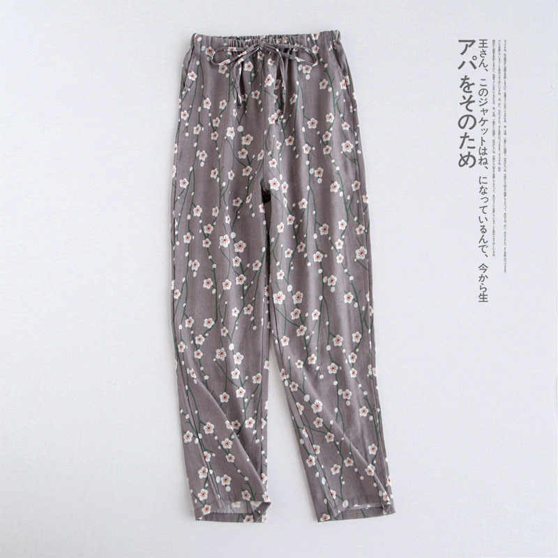 cbd55d780 Spring and Autumn New Ladies Trousers Japanese Cotton Knitted Pajama Pants  Double Gauze Loose Trousers Large