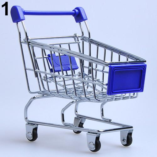 Convenient Supermarket Hand Trolley Mini Shopping Cart Desktop Decoration Storage Toy Gift