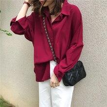 Vintage Autumn Blouses Women Chiffon Korean Pure Color Buttons Loose Long Sleeve Blouse Blue Casual All-match Long Shirt Ladies pure color frilled chiffon blouse