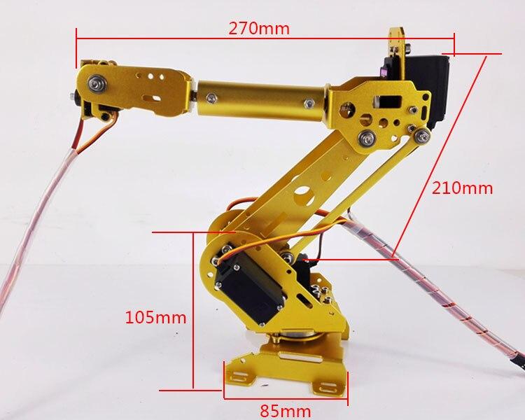 Aluminium DoArm S6 6DoF Bras Robotique ABB Modèle Manipulateur Mécanique avec 4 pièces MG996R + 2 pièces MG90S Servos + Kit De Contrôle pour Arduino