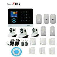 SmartYIBA Home Wireless GSM Wifi Intruder Alarm System With 3pcs IP Camera Door Open Sensor Motion