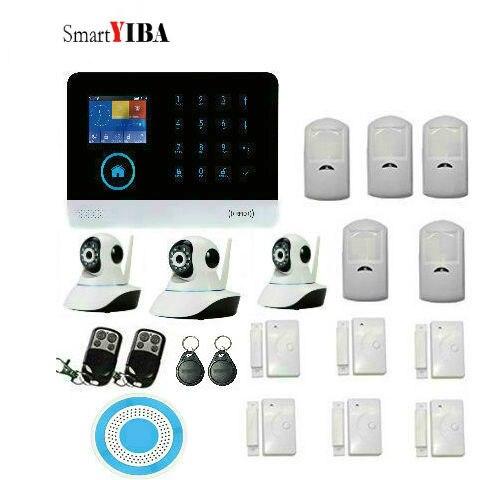 SmartYIBA Home Wireless GSM&Wifi Intruder Alarm System With 3pcs IP Camera,Door Open Sensor  Motion Alarm For Home Burglar