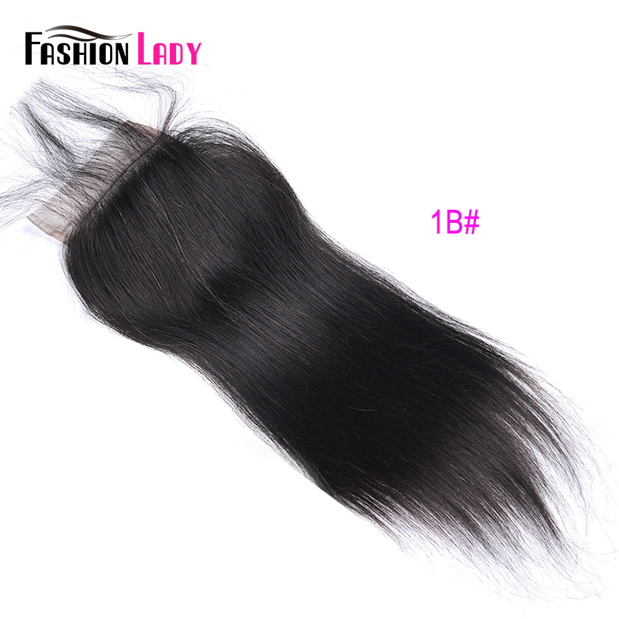 Модные женские Pre-крашеные бразильские волосы синтетическое закрытие волос прямые волосы кружево синтетическое закрытие волос 4x4 дюйма#2 каштановые человеческие волосы - Цвет: # 1B