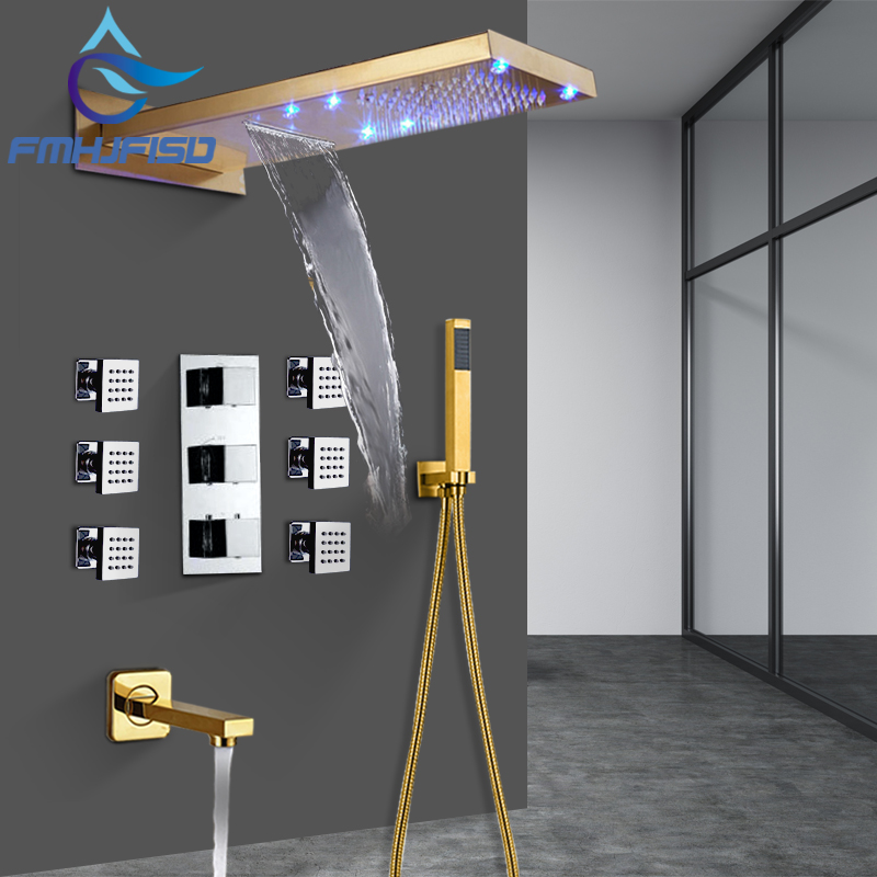 Gold Plated Thermostatic LED Waterfall Shower Faucet Set 6pcs Massage Jets With Tub Mixer Tap china sanitary ware chrome wall mount thermostatic water tap water saver thermostatic shower faucet
