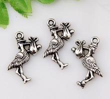 Hot !  10pcs Antique Silver Zinc Alloy Bird - Stork & Baby Charm 24x13mm DIY Jewelry nm119