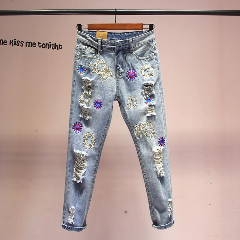2019 Spring Summer New Jeans Women Heavy Embroidery Loose Harlan Pants Girls Ladies Holes Jeans Women's Basic Denim Pants