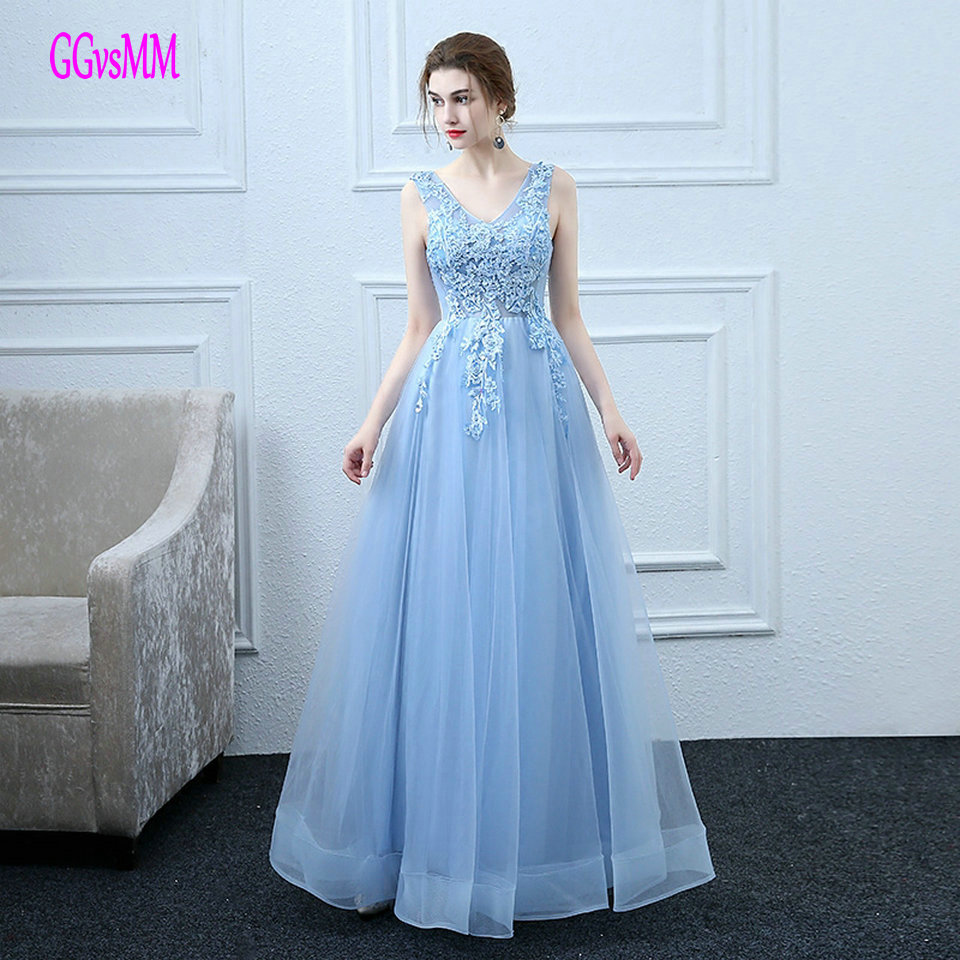 Fast Shipping Sky Blue   Prom     Dresses   Long 2019 New Cheap   Prom     Dress   Plus Size V-Neck Appliques Lace Up Formal Party Gown Evening