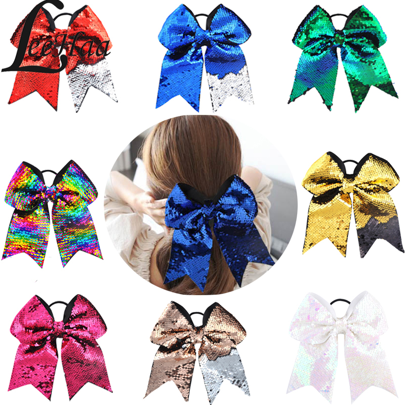 8Inch Large Cheer Bow Hair Accessories Sequnis Colorful Hair Bows Elastic Hair Hande Handmade Hair Ties Ponytail Holder Headwear