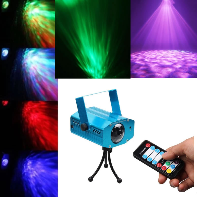 SPLEVISI Pyschedelic Lamp Light Stage Rotating Sound Activated Dynamic Water wave Flowing DJ Party KTV Xmas Effect Lights