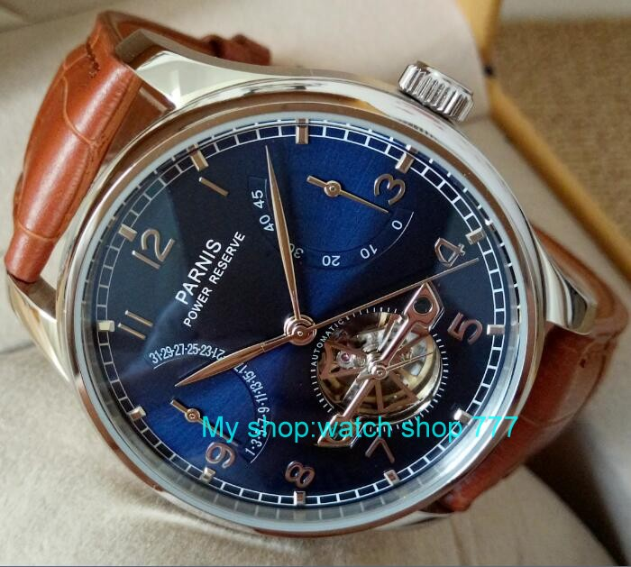 new blue dial 43mm PARNIS Automatic Self-Wind mechanical movement men watches power reserve Mechanical watches zdf2