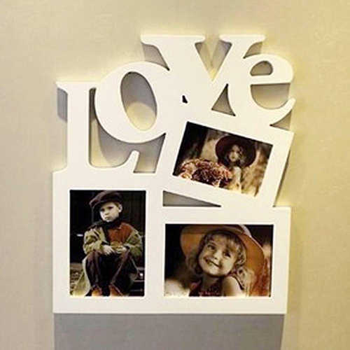 3 in 1 White Hollow Love Wooden Family Picture Photo Frame DIY Art Decor Frame