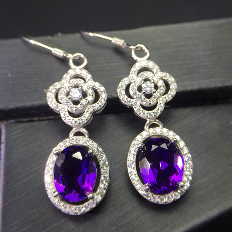 Palace Crystal Amethyst earnail 925 silver inlaid wear effect perfect