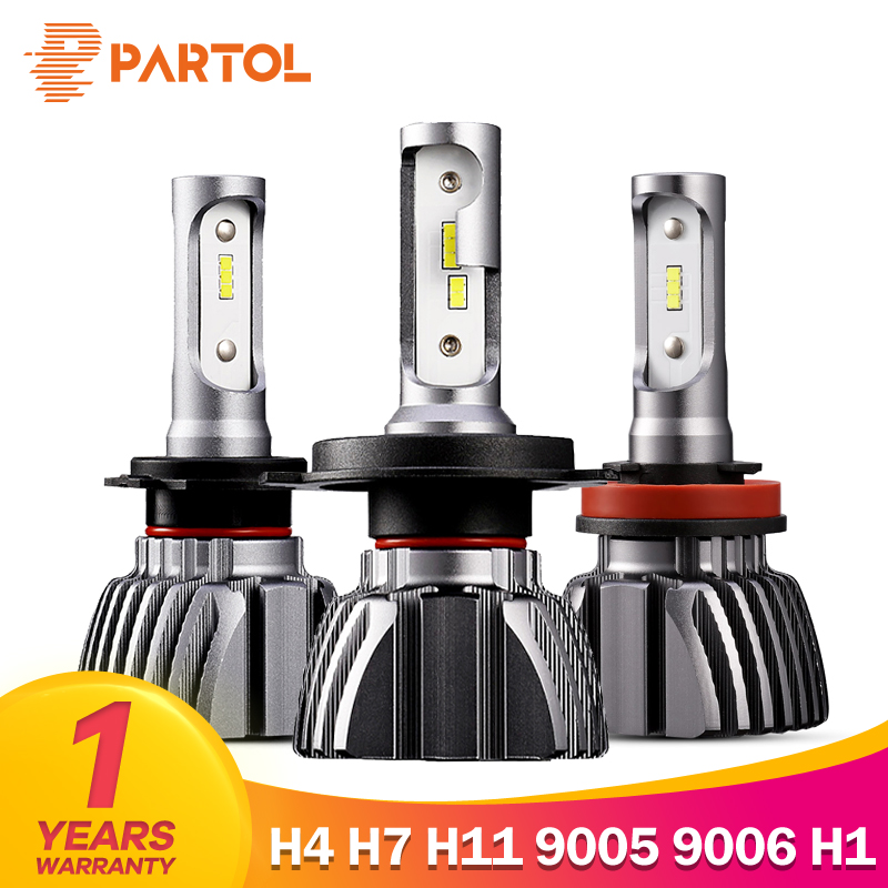 Partol Fan-Less H4 Car LED Headlight Bulbs 50W/Set 8000LM 9005 9006 H7 LED Automobile Headlamp LED H11 H1 H3 Fog Lamp 6500K 12V partol h4 hi lo beam car led headlight bulbs 72w 8000lm led h7 h11 automobile headlamp 9005 9006 led h1 h3 fog lights 6500k 12v