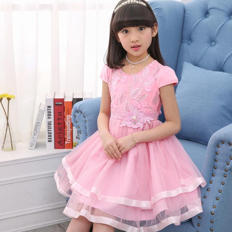 Fashion Teenage Girls Lace Dresses Summer Kids Dresses For Girls Clothes Fashion Girl Embroidery Princess Birthday Party Dress 4