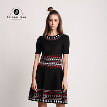 Runway Sweater Dress 2017 High Quality Embroidery Dress High Waist Silm Luxury Brand Woman Dress