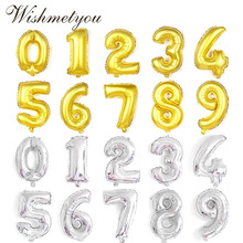 WISHMETYOU 16 Inch and 32 Gold Silver Number Aluminum Film Balloon Child Birthday Party Anniversary Digital Decoration DIY