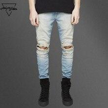 Aelfric Eden Уличная Разорвал Черные Узкие Джинсы для Мужчин Kpop случайные джинсовые синие брюки hip hop байкер мужчины мужчины джинсы брюки