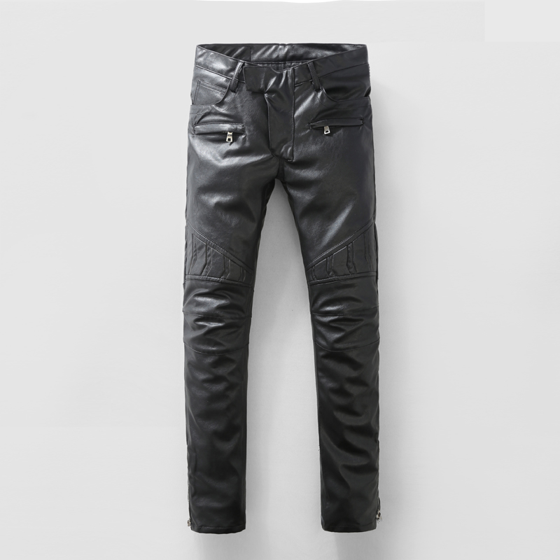 best price another chance details for Locomotive PU Leather Jeans Pants Men Slim Fit Straight Jean ...