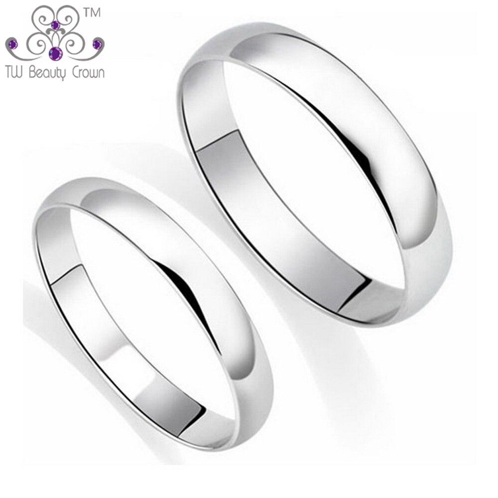 100% Réel 925 Pur Argent Classique Simple Plaine Conception Amoureux anneaux Pour Homme et Femme Couples De Mariage & Fiançailles Mode bijoux