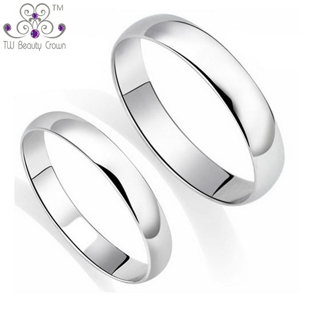 7039b67843 100% Real 925 Pure Silver Classic Simple Plain Design Lovers Rings For Man  & Woman Couples Wedding & Engagement Fashion Jewelry